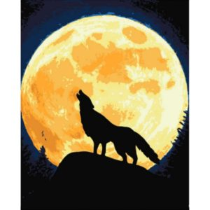 Paint by Numbers Kit Wolf and the moon T50400120