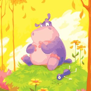 Wizardi Painting by Numbers Kit Little Hippo 40×50 cm L004