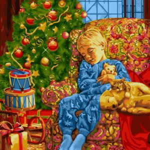 Wizardi Painting by Numbers Kit Christmas Night 40×50 cm L021