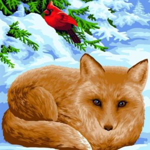 Wizardi Painting by Numbers Kit Little Fox 40×50 cm L024