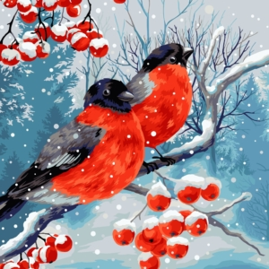Wizardi Painting by Numbers Kit Bullfinches 40×50 cm L026