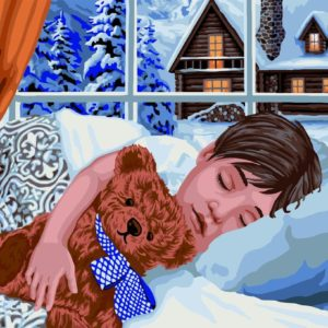 Wizardi Painting by Numbers Kit Winter Sleep 40×50 cm L032