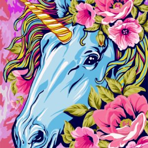 Wizardi Painting by Numbers Kit Fairytale Unicorn 40×50 cm R001