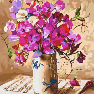 Wizardi Painting by Numbers Kit Flower Melody 40×50 cm B044